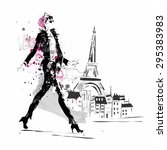 fashion girl in sketch style. | Shutterstock .eps vector #295383983
