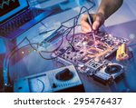 tech fixes motherboard in... | Shutterstock . vector #295476437