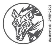 wolf head round logo totem ... | Shutterstock .eps vector #295542803