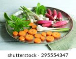 Fresh Vegetables On Meal Tray...