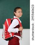 beautiful little girl standing... | Shutterstock . vector #295560623