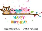 happy owl family celebrate... | Shutterstock . vector #295572083