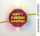 beautiful creative rakhi with... | Shutterstock .eps vector #295583597