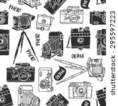 vintage photo camera seamless... | Shutterstock .eps vector #295597223