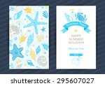 bright summer holidays cards... | Shutterstock .eps vector #295607027
