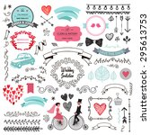 vector set of vintage hand... | Shutterstock .eps vector #295613753