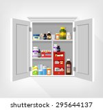 cupboard with medicines. vector ... | Shutterstock .eps vector #295644137