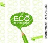 green pencil  drawing speech... | Shutterstock .eps vector #295648283