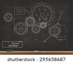 gears blueprint chalkboard... | Shutterstock .eps vector #295658687