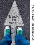 worker standing above the sign... | Shutterstock . vector #295672763