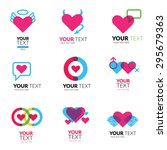 vector icon set with hearts... | Shutterstock .eps vector #295679363