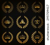 set of luxury gold labels ... | Shutterstock .eps vector #295709417