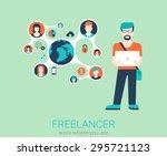 freelance work flat web... | Shutterstock .eps vector #295721123