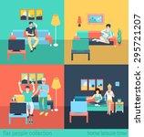 set of friends family in living ...   Shutterstock .eps vector #295721207