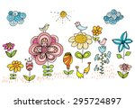 children drawing of flowers and ...