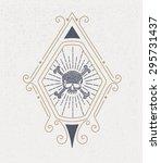 vintage logo with skull. design ... | Shutterstock .eps vector #295731437