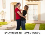 profile view of a young couple... | Shutterstock . vector #295740593