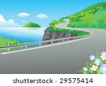 illustration with road near sea and mountains - stock vector