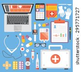 healthcare and medicine flat... | Shutterstock .eps vector #295771727