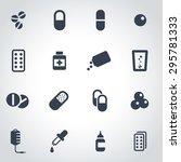 vector black pills icon set on... | Shutterstock .eps vector #295781333