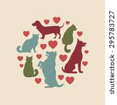 Stock vector cats and dogs vector silhouette vintage round composition 295783727