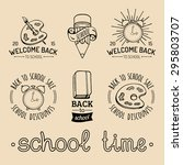 vector set of vintage back to... | Shutterstock .eps vector #295803707