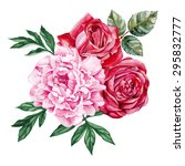 peony and red roses bouquet.... | Shutterstock .eps vector #295832777