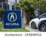 Small photo of LOS ANGELES, CA/USA - JULY 11, 2015: Acura automobile dealership sign and logo. Acura is the luxury vehicle division of Japanese automaker Honda.