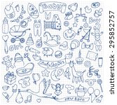 Baby Hand Drawn Doodle Set On...