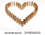 Dominoes Standing In Heart Shape