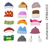 funny cartoon winter hat set  ... | Shutterstock .eps vector #295861013