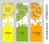 vertical banners with citrus... | Shutterstock . vector #295861553