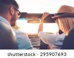 enjoying road trip together.... | Shutterstock . vector #295907693