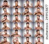 Small photo of Emotions and gestures. Collage of young shitless man expressing diverse emotions and gesturing while standing against grey background