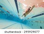 professional man swimmer inside ... | Shutterstock . vector #295929077