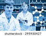science graphic against two... | Shutterstock . vector #295930427