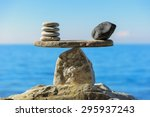 well balanced of pebbles on the ... | Shutterstock . vector #295937243