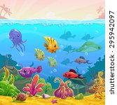 funny cartoon vector underwater ... | Shutterstock .eps vector #295942097