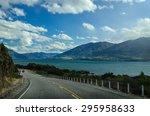highway road freeway near lake... | Shutterstock . vector #295958633