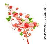 strawberries with juice splash... | Shutterstock . vector #296020013