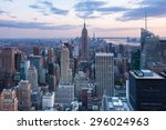 aerial night view of manhattan... | Shutterstock . vector #296024963