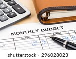 home budget planning sheet with ... | Shutterstock . vector #296028023