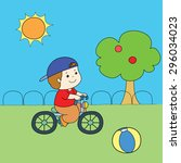 blue hat red shirt boy riding... | Shutterstock .eps vector #296034023