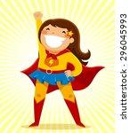 little girl in a superhero...   Shutterstock .eps vector #296045993