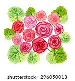 Hand Drawn Watercolor Begonia...