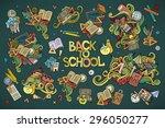 school and education doodles... | Shutterstock .eps vector #296050277
