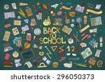 school and education doodles... | Shutterstock .eps vector #296050373