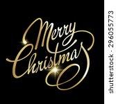 merry christmas lettering...   Shutterstock .eps vector #296055773