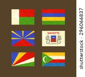 flags of madagascar  reunion ... | Shutterstock .eps vector #296066837