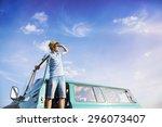 teenage friends on a road trip... | Shutterstock . vector #296073407